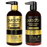 PURA D'OR Advanced Therapy System Shampoo & Conditioner - Increases Volume, Strength and Shine, Sulfate Free, Made with Argan Oil, All Hair Types, Men & Women, 16 fl oz (Packaging may vary) (Tamaño: 16 Ounces)