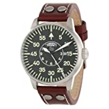 Laco/1925 Men's 861806 Pilot Classic Round Stainless Steel Watch with Brown Leather Strap (Color: brown)
