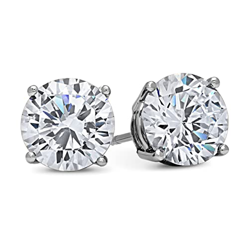 14k White Gold Solid Cubic Zirconia cz stud earrings (in sizes 0.5ct, 1ct, 1.5ct, 2ct, 3ct, 4ct) à