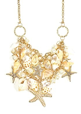 Amazon.com: Sea Shell Necklace Aquatic Beach Starfish Charms ...