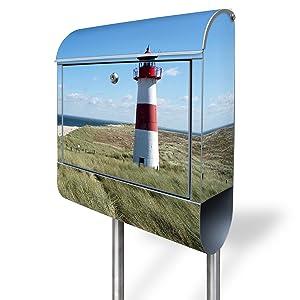 Design Standbriefkasten aus Edelstahl mit Motiv Leuchtturm   Kundenbewertung und Beschreibung