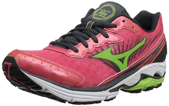 Mizuno Women's Wave Rider 16 Running Shoe,Rouge Red/Apple Green/Dark Shadow,10.5 B US