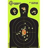 Splatterburst Targets - 12 x18 inch - Silhouette Reactive Shooting Target - Shots Burst Bright Fluorescent Yellow Upon Impact - Gun - Rifle - Pistol - AirSoft - BB Gun - Air Rifle (25 pack)