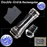 BTArtbox 2 Pcs Double Ended Transparent Round and Jelly Clear Stampers Plate And Scrapers Set DIY Nail Art Tools Template Manicure Accessories(Large:1.18in;Mini:1.1in;Rectangle:1.18 multiply 0.91in)