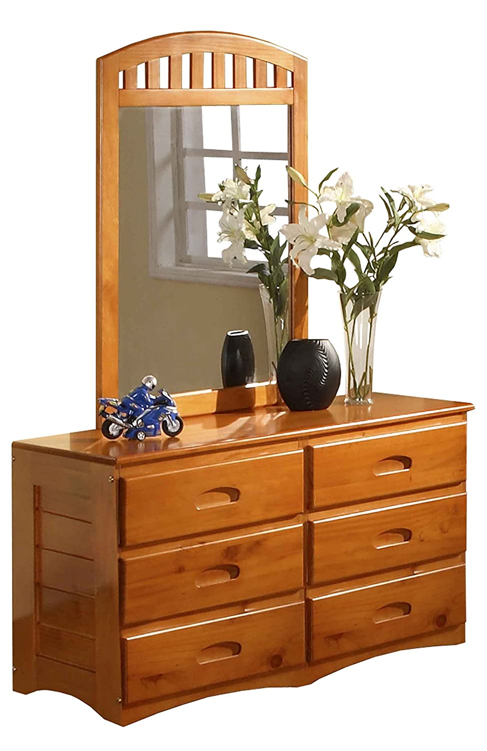 Discovery World Furniture 6 Drawer Dresser and Mirror, Honey