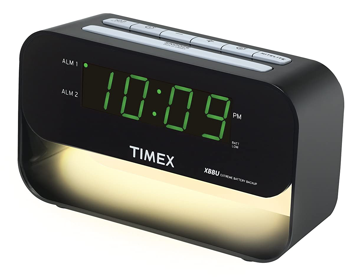Timex T128BXC3 Dual Alarm Clock with USB Charging and Night Light - Black(light color may vary)
