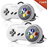 2 Pack Retro SNES Classic USB Controller Gamepad,kiwitatá USB PC Wired Game Controller Joysticks for Windows PC MAC (Color: Grey/Multi Color Keys2Pack)