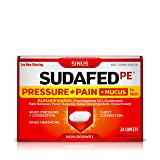 Sudafed PE Pressure + Pain + Mucus Relief for Sinus Pressure and Nasal Congestion, 24 ct (Tamaño: 24 Count)