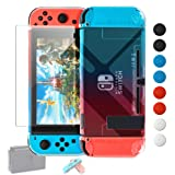 Dockable Case Compatible with Nintendo Switch, Protective Accessories for Nintendo Switch and Soft TPU Grip Case for Nintendo Switch Joy-Con with Glass Screen Protector and 8 Thumb Grips Caps BlueRed (Color: BlueRed)
