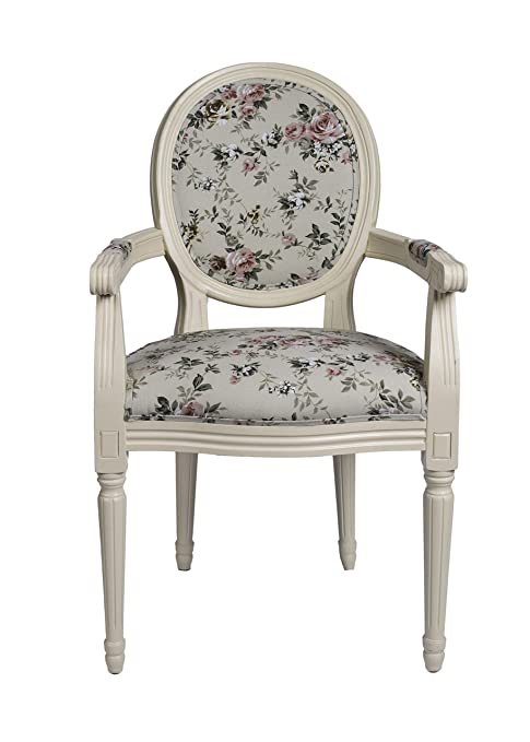 DERRYS Louis Antique Style French Round Back Armchair with Traditional Floral, Wood, Ivory/Multi