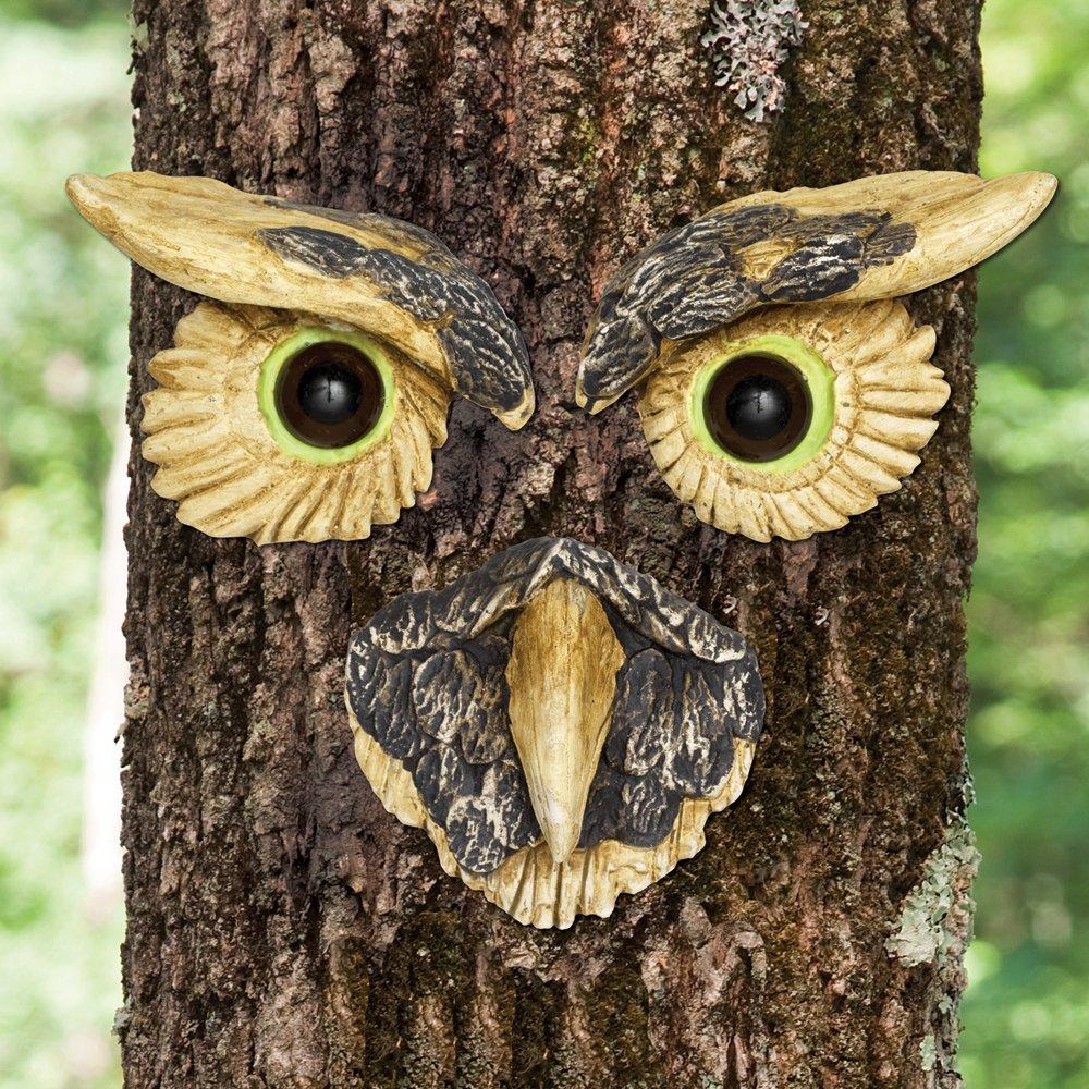 Bits and Pieces - Owl Face Tree Hugger - Garden Peeker Yard Art - Outdoor Tree Hugger Sculpture Whimsical Tree Face Garden Decoration