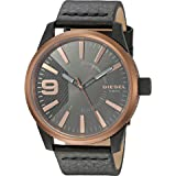 Diesel Men's 'Rasp' Quartz Stainless Steel and Leather Casual Watch, Color:Black (Model: DZ1841) (Color: Black, Tamaño: One Size)