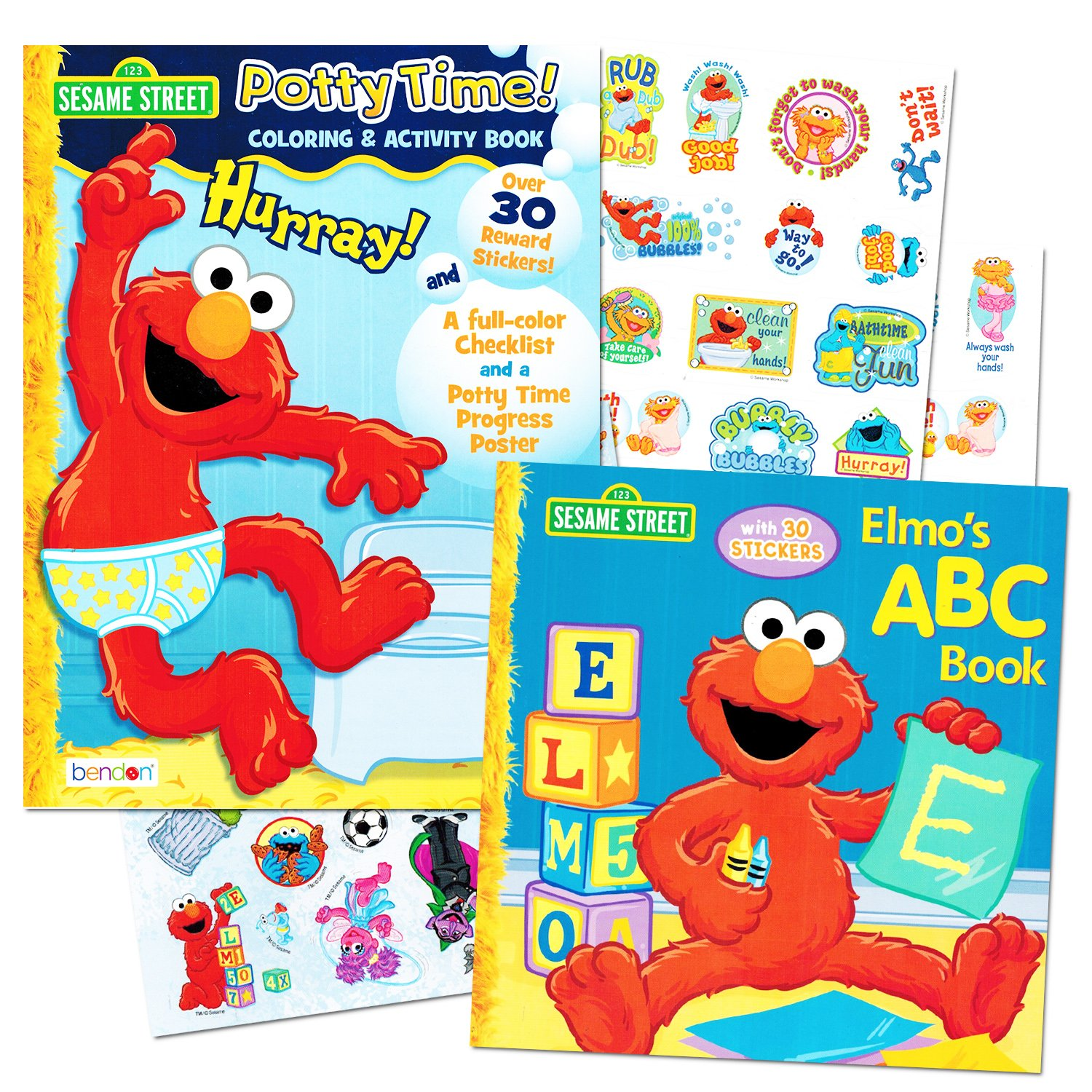 Sesame Street Elmo Potty Training Book Set For Toddlers -- Includes Progress Chart, Poster, Reward Stickers and Bonus Elmo ABC Book