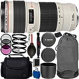 Canon EF 70-200mm f/4L USM Lens Bundle with Manufacturer Accessories & Accessory Kit for EOS 7D Mark II, 7D, 80D, 70D, 60D, 50D, 40D, 30D, 20D, Rebel T6s, T6i, T5i, T4i, SL1, T3i, T6, T5, T3, T2i (Color: Webcam Cover 300, Tamaño: Webcam Cover-300)
