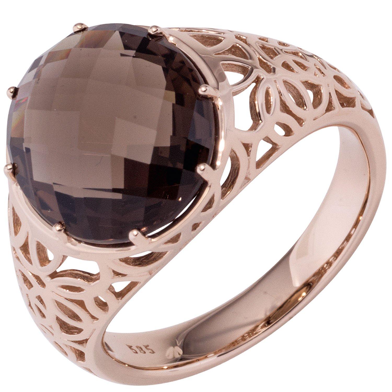 JOBO Damen Ring 585 Gold Rotgold 1 Rauchquarz braun Goldring als Geschenk
