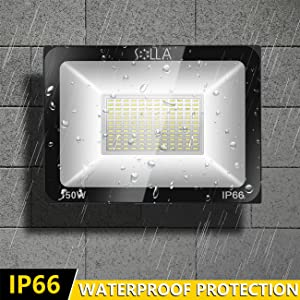 2 Pack SOLLA 150W LED Flood Light, IP66 Waterproof, 12000lm, 800W Equivalent, Super Bright Outdoor Security Lights, 3000K Warm White, Outdoor Floodlight for Garage, Garden, Lawn and Yard (Color: 3000k Warm White, Tamaño: 150w-2 Pack)