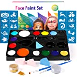 Amzdeal Face&Body Paint Kit for Kids/Adults Facial Painting Kit with 14 Colors,2 Glitter, 2 Soft Sponges,2 Brushes and 30 Stencils,Halloween/Professional Costume Makeup Kit,Safe for Sensitive Skin