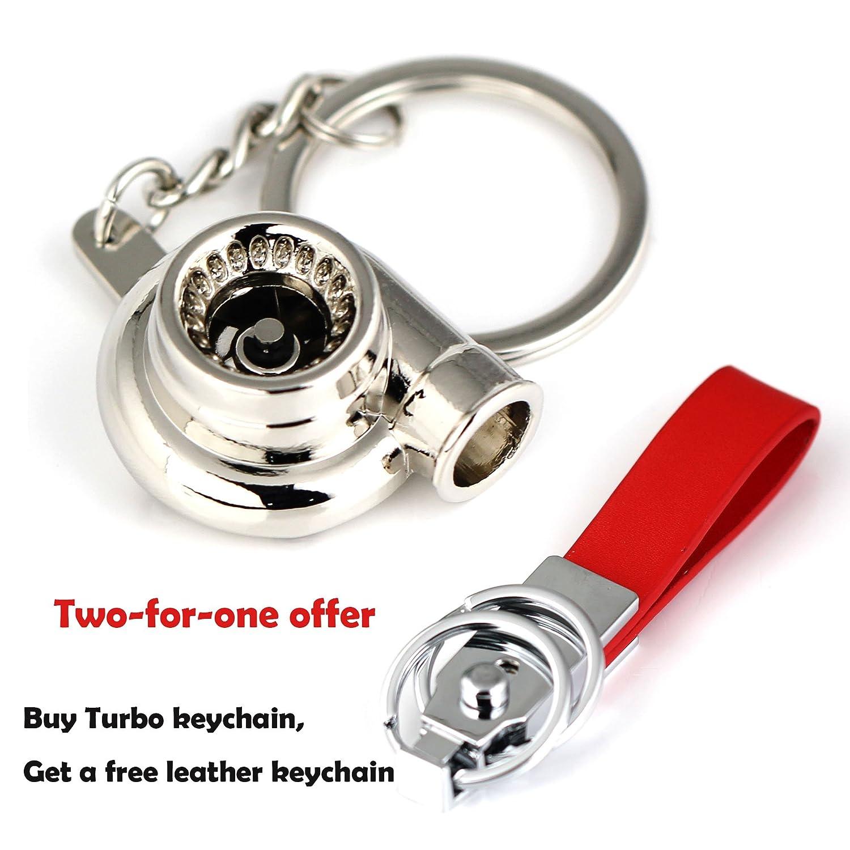 Maycom Spinning Turbo Keychain Keyring Turbocharger Turbine Key Chain Ring Keyrings (Polished Silver)