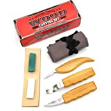 Wood Carving Tool Set for Spoon Carving/Whittling/Roughing Wood | Set of 3 Knives Hook Knife, Chip Carving Detail Knife, Sloyd Knife with Leather Strop, Polishing Compound, Grinding Stone, Tool Roll