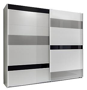 Wimex 466864 Schwebetürenschrank Mondrian 210 x 225 x 65 cm, alpinweiß, Absetzung Glas Sahara grau  Kritiken und weitere Informationen