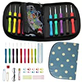 Maggift Crochet Hook Set with 9 Ergonomic Handles, Size B 2mm to J 6mm, Smooth Needles, 22 Knitting Accessories, Zipper Organizer Case (Grey Blue)