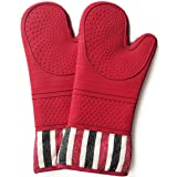 Heat Resistant 550 Degree Oven mitt, Silicone Oven Hot Mitts - 1 Pair, Extra Long Professional Baking Oven Gloves - Food Safe,Pot Holders Cooking,Grilling,Kitchen (red) (Color: Red)