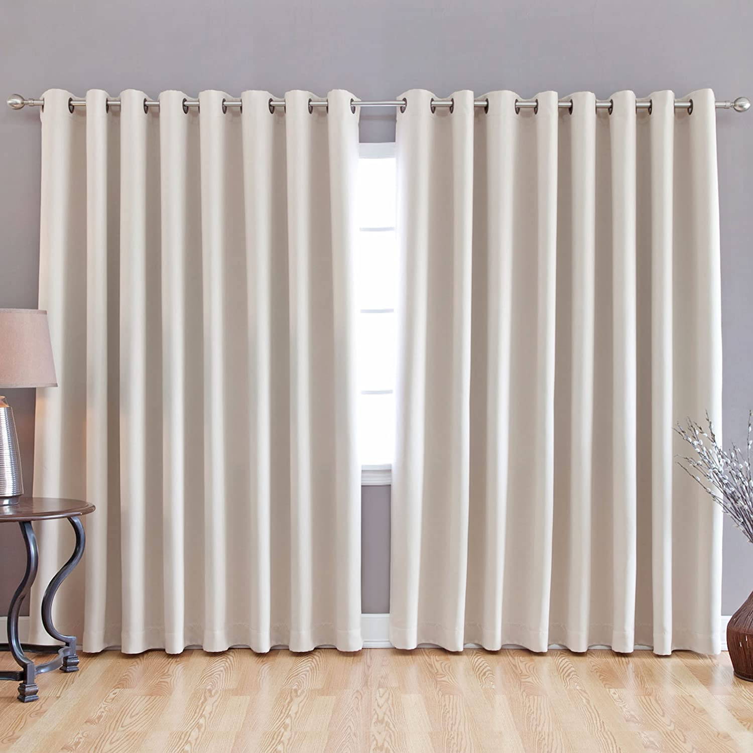 Fashion Beige Wide Width Grommet TOP Thermal Blackout Curtain 100 034 W X 84 034 L | eBay