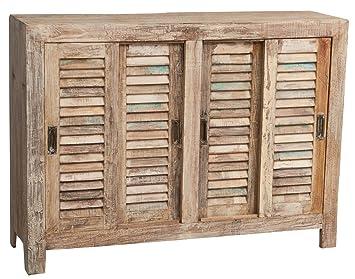 Aparador de madera maciza reciclada acabado antiguo L145X PR46X H107cm