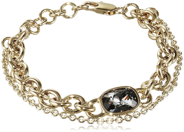 Dyrberg/Kern Damen-Armband 15/02 Elisa/B Sg Grey Messing teilvergoldet Kristall grau 23 cm - 337637