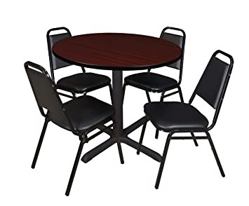Regency Seating 42-Inch Round Mahogany Laminate Table with Cain Base and 4 Black Restaurant Chairs