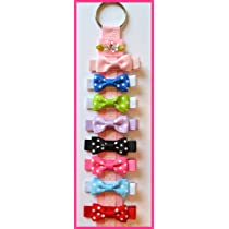 Funny Girl-Set of 8 Polka Dot Hair Bows & Free Bow Holder!