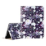 Lontect Compatible New iPad 2018/2017 9.7 inch Case, Floral Design PU Leather Folio Flip Smart Case Cover Stand with Auto Wake/Sleep for New iPad 2018 9.7 Inch/iPad Pro 9.7 inch - White Flower (Color: White Flower, Tamaño: 9.7 Inch)