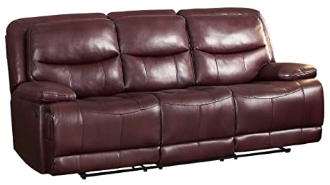 Homelegance 8599BGD-3 Double Reclining Sofa, Burgundy Breathable Faux Leather
