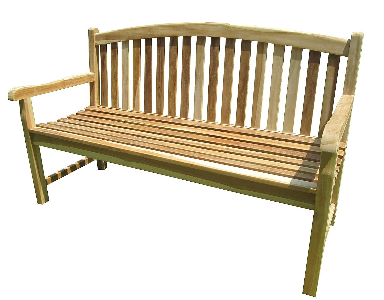 Trendy-Home24 3-Sitzer massiv Teakholz Bank Durango, Massivholz, Holzbank, Gartenbank, ca. 150 cm breit, Teakbank unbehandelt natur