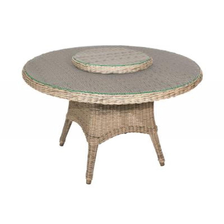 4Seasons Outdoor Victoria Tisch rund 130 cm mit Glasplatte Polyrattan Pure online bestellen