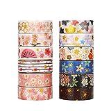 Molshine Set of 12 Japanese Washi Masking Tape, Sticky Paper Tape for DIY, Decorative Craft, Gift Wrapping, Scrapbook-Sakura Gold-Stamping Series (0.6inchx5.5yd) (Color: Sakura series)