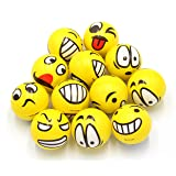 Set of 12 - Fun Face Emoji Stress Balls Cute Hand Wrist Stress Reliefs Squeeze Balls for Kids and Adults at School or Office Holiday Gift Party Favors (Yellow Color Random Emotion Faces)