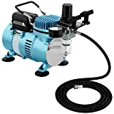Master Airbrush 1/5 HP Cool Runner II Dual Fan Air Compressor Kit Model TC-320 - Professional Single-Piston with 2 Cooling Fans, Longer Running Time Without Overheating - Regulator Water Trap, Holder (Tamaño: Deluxe Dual Fan Compressor)