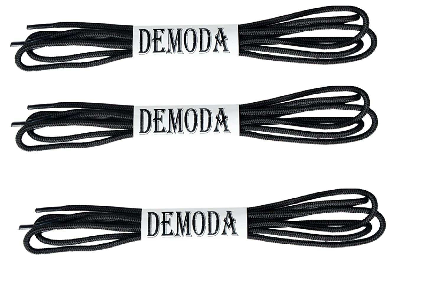 Demoda Black Shoe Laces for Formal Shoes(Pack of 3 pair- Black,Thin Round)