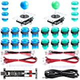 Easyget 2-Player DIY Arcade Kit Zero Delay 2-Player USB Encoder + 2X Joystick + 20x LED Arcade Buttons for PC, Windows, MAME, Mac & Raspberry Pi Retro Gaming DIY (Blue & Green) (Color: Blue & Green)