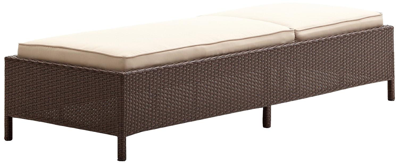 All weather wicker chaise lounge woven w beige polyester for All weather chaise lounge