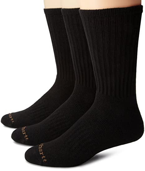 Carhartt Men's Work Wear Cushioned 3 Pack Crew Sock, Black, Large
