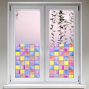 Artefact® Dekofolie / Fensterfolie Quadrate Bunt | statisch haftend (ohne Kleber) | verschiedene Größen  BaumarktKundenbewertung und weitere Informationen