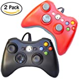 FSC Mixed Pack of 2 USB Wired Game Pad Controller for Use With Xbox 360, Windows 10 5 Colors (Black/Red)