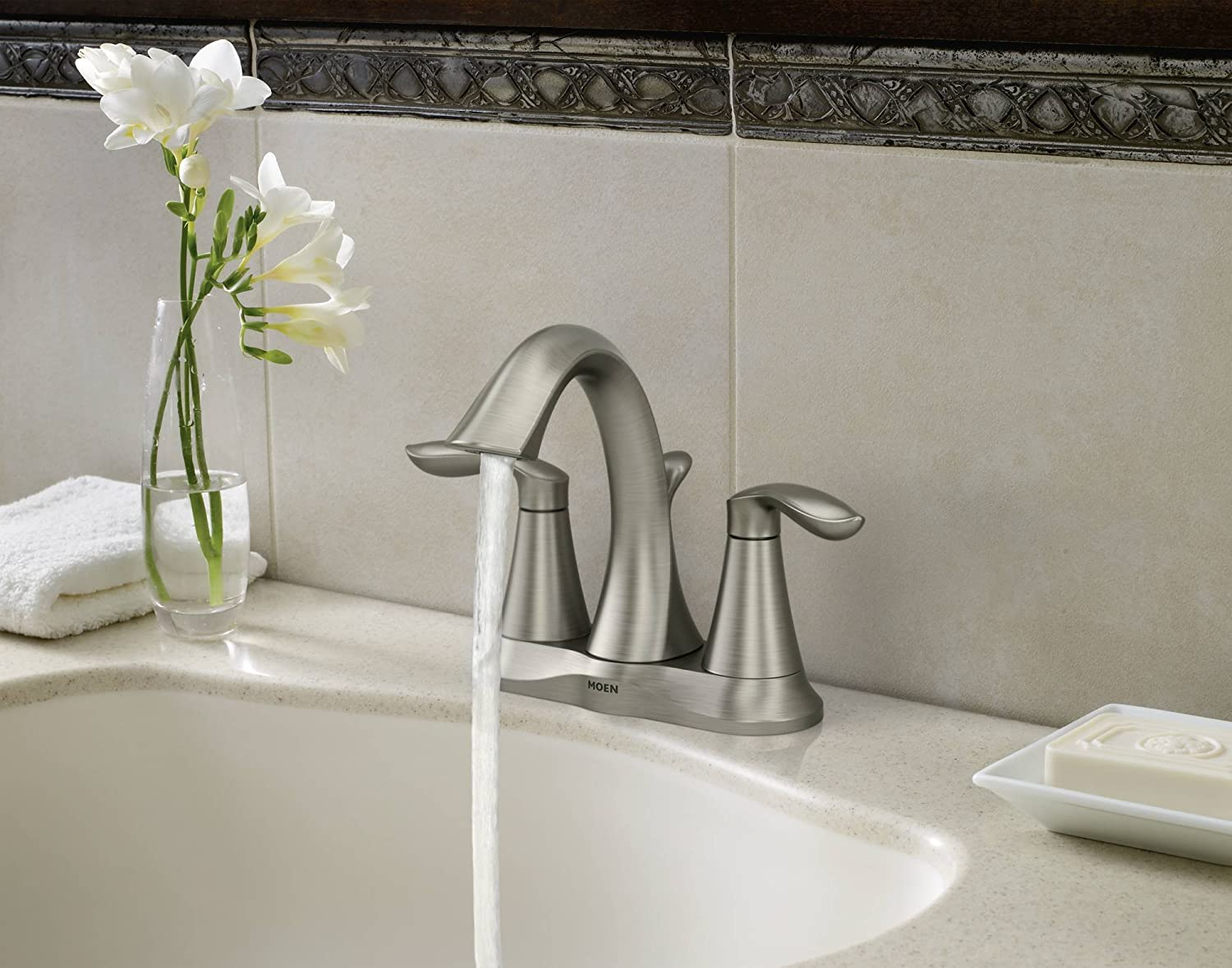 Moen 6410BN EVA Two Handle Lavatory Faucet