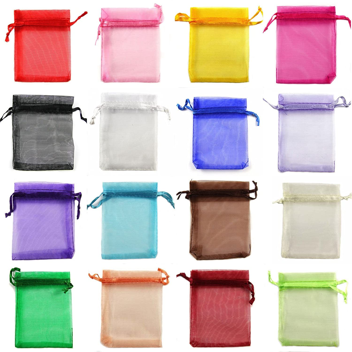 Halulu 100 Pcs 3 x 4 Inches Mixed Color Jewelry Gift Organza Bag Candy Ponch Wedding favors