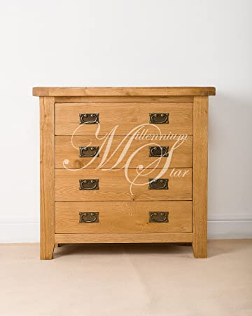 SOLID CHUNKY WOOD RUSTIC OAK CHEST OF DRAWERS
