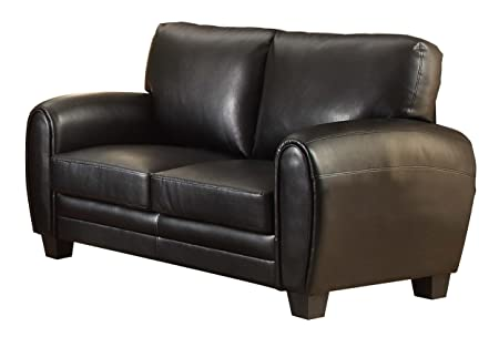 Homelegance 9734BK-2 Upholstered Loveseat, Black Bonded Leather Match