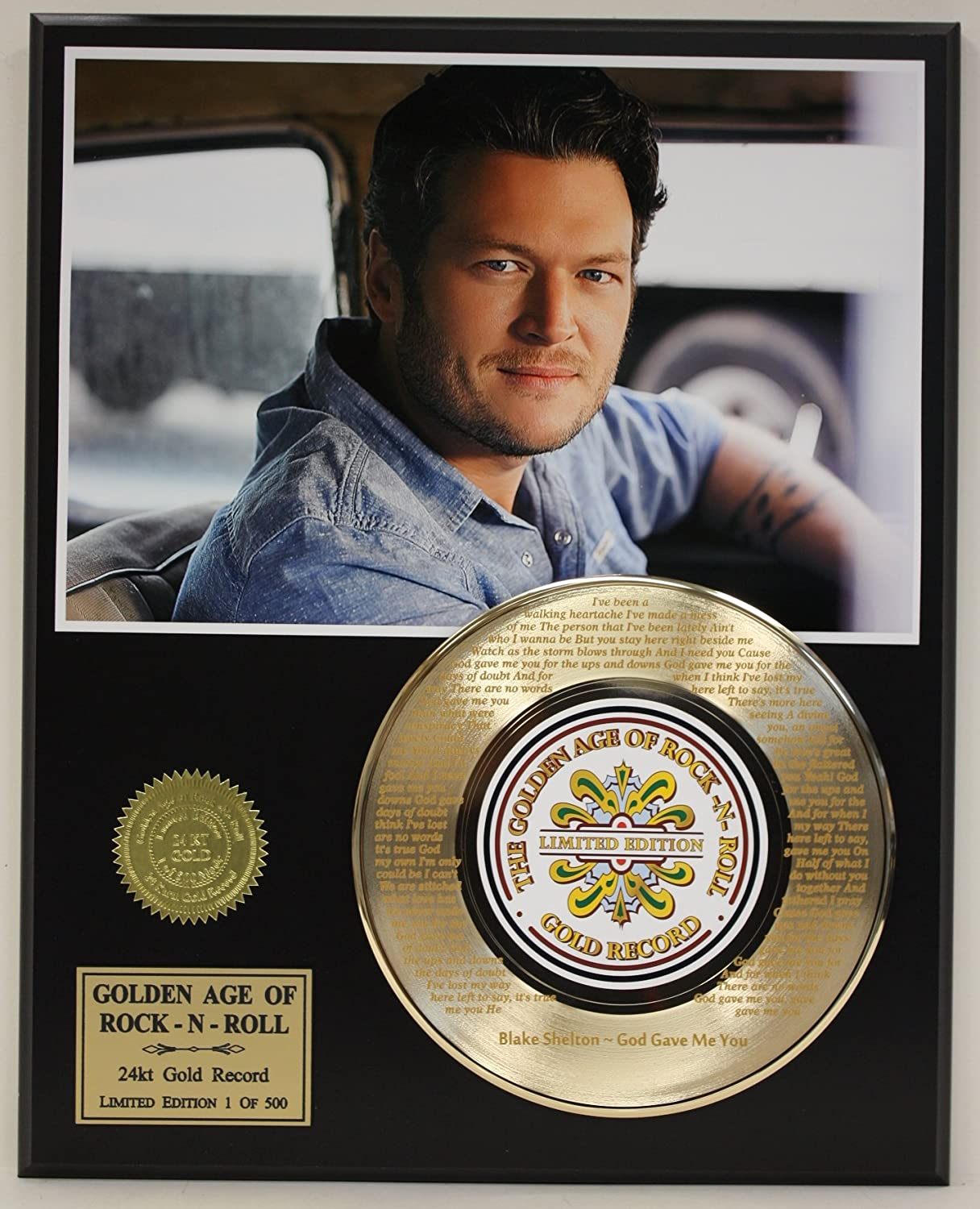 Blake Shelton Laser Etched With Lyrics To God Gave Me You Limited Edition Gold Record Display портмоне r blake business melvin advocate melvin advocate