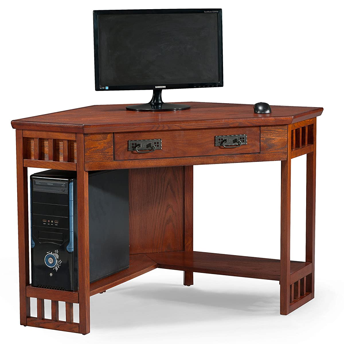 Leick Corner Computer and Writing Desk, Mission Oak Finish